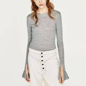 Zara Heather Gray Bell Sleeve Crop